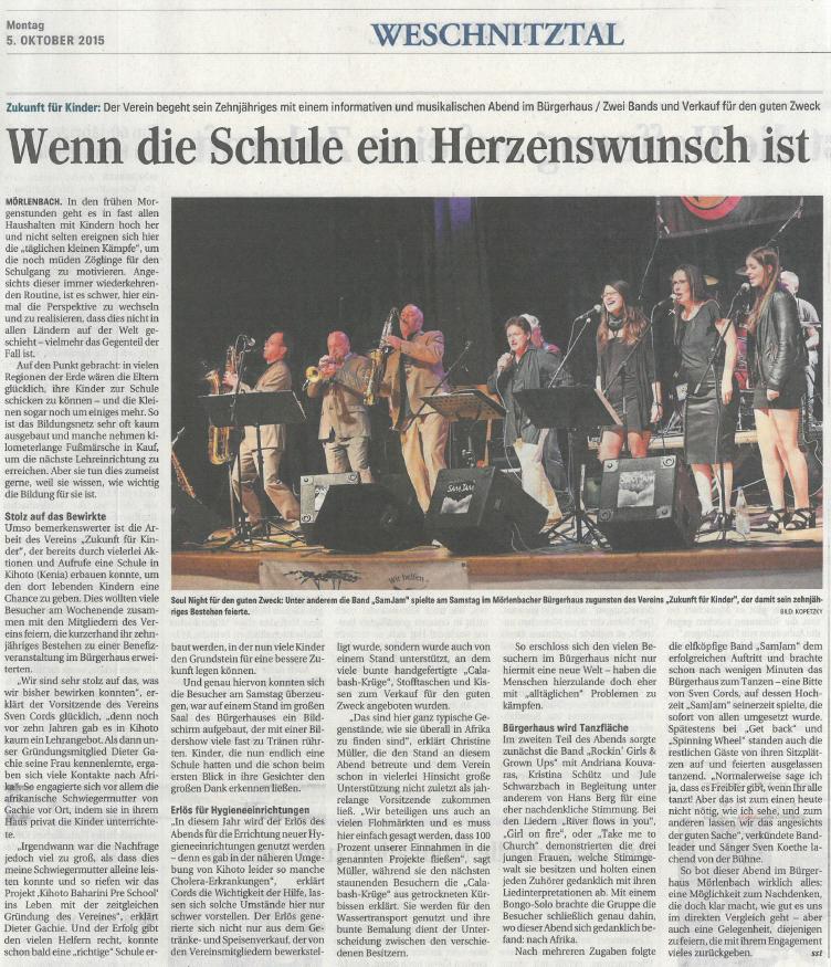 Zeitungsartikel WNOZ 05.10.2015 Benefizkonzert Buergerhaus